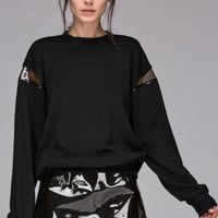 Sweatshirt with transparent panel sleeve - FrontRowShop