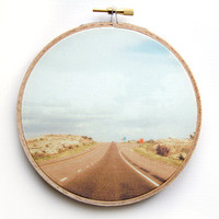 Adventure Travel Open Road Photograph - Western Landscape Photo - 5 Inch Hoop - Photography on Fabric - Textile Wall Hanging - Hoop Art