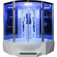Eagle Bath WS-608P 110v ETL Certified Steam Shower Enclosure (3KW generator) with Whirlpool Tub 2 Handheld Showerheads 6 mm Tempered Blue Glass and Built-In Seating