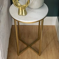 """16"""" Round Side Table - Marble/Gold"""