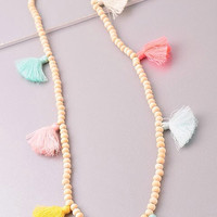 Pastel Rainbow Tassel Necklace