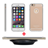 "Magic Qi Wireless Charger Pad for iphone + Wireless Charging Receiver Phone Case Cover for iPhone 6 6s 4.7"" Rose Gold Silver"
