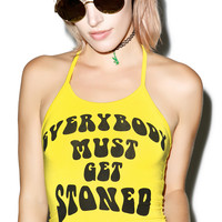 O Mighty Must Get Stoned Halter Top Yellow