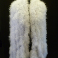 White Hollywood Glamour Luxury Marabou Feathers Wrap stole with 5 Mink Style Tails.