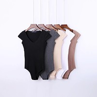 Solid Ribbed Bodysuit