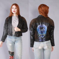 Vintage 1980s Leather JACKET / Cropped Black Custom Painted Harley Davidson Motorcycle Jacket xs-m