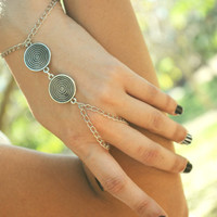 Slave Bracelet Hand Bracelet  Piece Hipster Silver Chain Boho Bohemian Dual Disk Wrapping Hand Jewelry