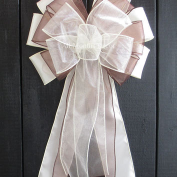 Ivory and Brown Organza Satin Pew Bow