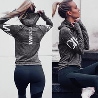 Explosion Letter Hooded Women Sports Shirt Quick Dry Breathable Long Sleeve Yoga Top Dry Fit Women Fitness Clothes Gym Tops
