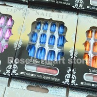144PCS 12 Metallic Color Metal Plating False Nails French Nep  Fake Nails for Nail Art Design Nail Tips Faux Ongles Free Glue