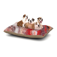 """KESS Original """"Red Lace Agate"""" Orange Abstract Dog Bed"""
