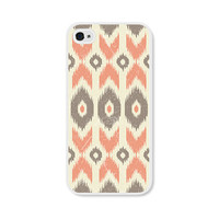 Peach Geometric Ikat iPhone 4 Case - iPhone 4 Cover - Tribal Southwest iPhone 4 Skin - Coral Cream Cell Phone