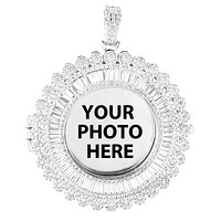 Custom Picture Memory Baguette Bling Round Photo Pendant Chain