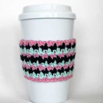 Crochet Striped Cozy Pink Pastel Green and Black