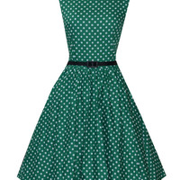 Green Polka Dot Sleeveless Belted A-Line Pleated Mini Dress