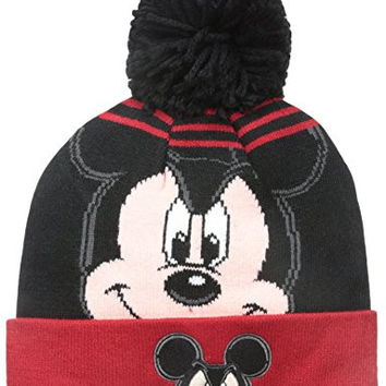 New Era Cap Men's Mickey Mouse Logo Whiz Pom Knit Beanie, Black/Red, One Size