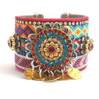 Friendship bracelet cuff in bohemian / hippie style with Swarovski chrystals and gold plated coins and ornaments -  hippie cuff bracelet