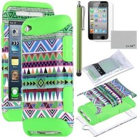 ULAK 3-Piece Hybrid High Impact Case Tribal Pattern with Green Silicone Inner Soft Shell for Apple iPod Touch Generation 4 with Stylus + Screen Protector