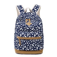 Fashion Canvas Casual Feather Printed Backpack Schoolbag
