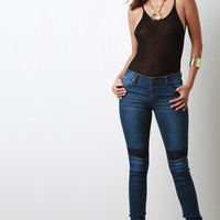 Low Rise Contrast Knee Panel Jeans
