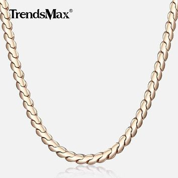 Womens Necklace 585 Rose Gold Serpentine Link Herringbone Chain Necklace For Women Jewelry Fashion Gifts Drposhipping 2mm CN16 Macchar Cosplay Catalogue