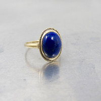 Lapis Lazuli Ring. 9K Yellow Gold Lapis Ring. Oval Cabochon. Unique Engagement Anniversary Ring