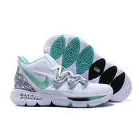 Nike Kyrie 5 White/Silver/Green Basketball Shoes