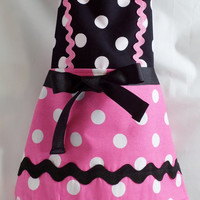 Retro Child's Polkadot Apron for ages 3 to 8 Choose Pink/Black or Red/Black