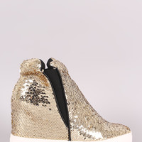 Sequin High Top Wedge Sneaker