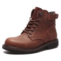 Men Wear-resistant Genuine Leather Lace Up Casual Boots