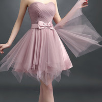 Cameo Brown Sheer Strapless Bowknot Waist Lacing Back Prom Dress