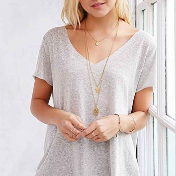 Project Social T Textured-Knit V-Neck Tee-
