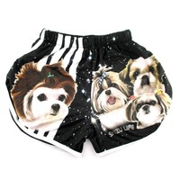 Adorable Shih Tzu Space Star Print Elastic Waist Shorts in Black with Stripes