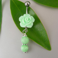 Mint Green Rose Flower & Real Jade Beaded Dangle Belly Button Ring ~ Navel body piercing jewelry