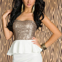 Strapless White Peplum Dress with Backless Sequined Top