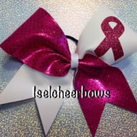 Breast cancer support cheer bow