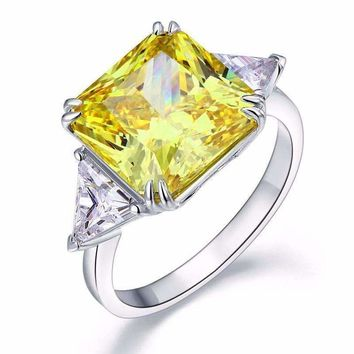 Fancy Canary 8CT Princess Cut Three Stone Sterling Silver Cocktail Ring for Women