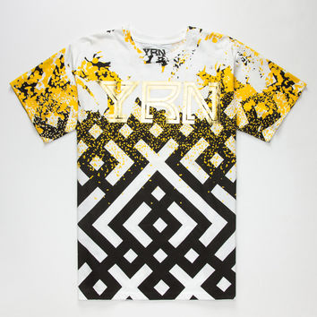 Yrn Gold Splatter Mens T-Shirt White  In Sizes
