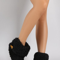 Toggle Cuff Shearling Sock Slippers