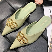 Balenciaga slippers new version Baotou half slippers pointed shallow mouth flat sandals Shoes 1