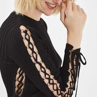 Premium Lace Up Side Crop Top - Sweaters & Knits - Clothing