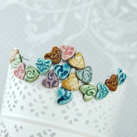 Valentines Day Heart Gift for Her  Earrings Ceramic Oriental Pattern Studs