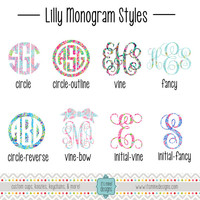 Lilly Pulitzer Monogram Decal or Sticker - Vine, Circle - For Laptop, Car, Notebook, Etc.