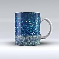 The Navy and Gold Unfocused Sparkles of Light ink-Fuzed Ceramic Coffee Mug