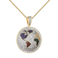 """Iced Out World Pendant Iced Out Simulated Diamonds Stainless Steel Necklace 24"""""""