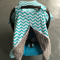 Teal & Gray Chevron Carseat Cover - Nursing Cover