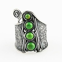 Gaspeite Whimsical Sterling Band Ring