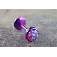Purple Fire Opal 16 Gauge Cartilage Earring Tragus Monroe Helix Piercing You Choose Stone Size