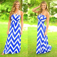Blue And White Wave Pattern Print Strapless Maxi Dress