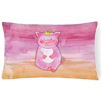 Pig Watercolor Canvas Fabric Decorative Pillow BB7416PW1216